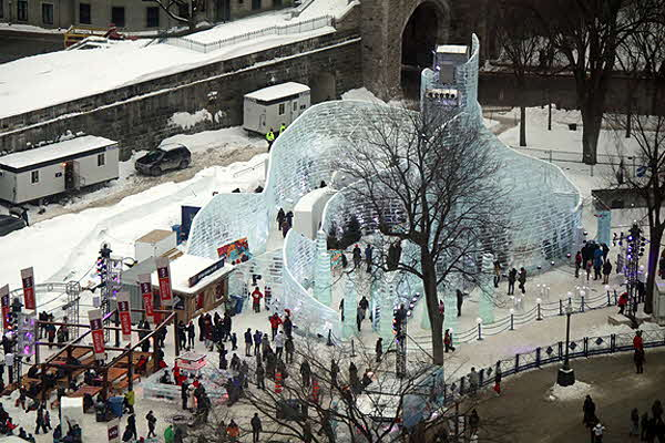 Quebec Winter Carnival site with ice palace