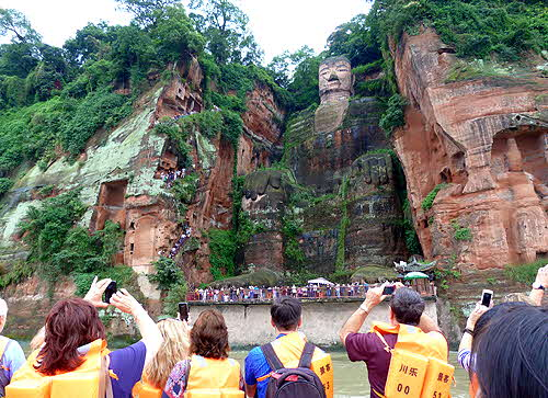 China Leshan Giant Maitraya Buddha View from Boat