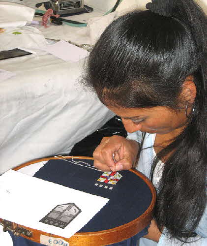 Ecuador Woman Embroidering
