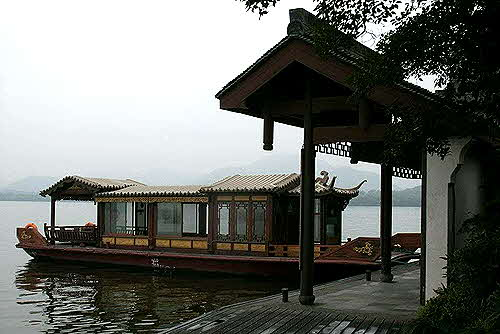Hangzhou, lake boat anchored for picnic