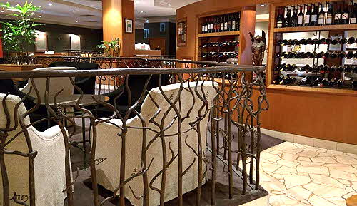 Hilton Adelaide Brasserie restaurant with grape vine motif