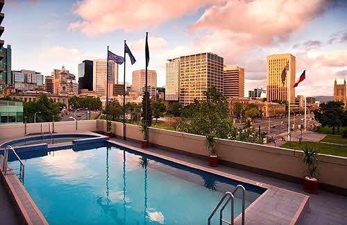 Hilton Adelaide the terrace pool overlooks Victoria Square
