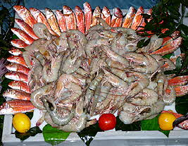 Red Mullet and Shrimp Display
