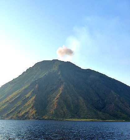 Stromboli seen from a boat