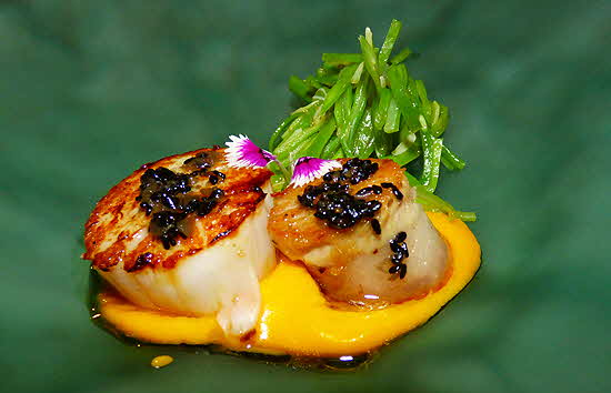 Small Plates Scallops and Caviar