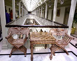 Taj Mumbai Chess Table and Chairs Mother-of-Pearl