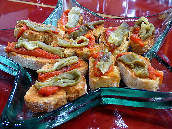 Tapas Pickled Egplant & Pimento on Bread Slices