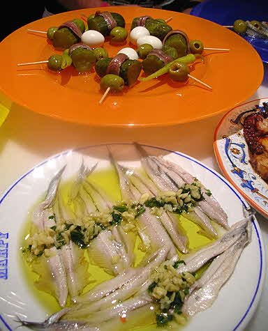Tapas Zaragoza White Pickled Anchovies and Piparras